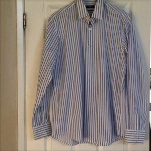 Boss Hugo blue striped cotton shirt 16 34/35